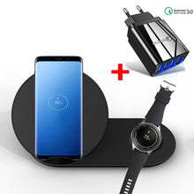 Load image into Gallery viewer, 2 in 1 10W Fast Wireless Charger Fast Charging For Samsung Galaxy S10 S9 S8 Note10 9 Gear S2 S3 S4 Watch For iPhone 11 X XS XR 8