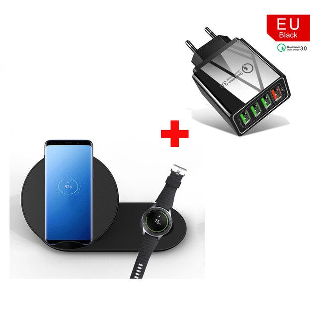 2 in 1 10W Fast Wireless Charger Fast Charging For Samsung Galaxy S10 S9 S8 Note10 9 Gear S2 S3 S4 Watch For iPhone 11 X XS XR 8