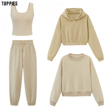 Load image into Gallery viewer, toppies womens tracksuits hooded sweatshirts 2020 autumn winter fleece oversize hoodies solid color jackets