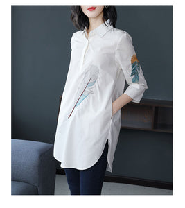 100% Cotton Plus size Feather Embroidery White Long Blouse Women 3/4 Sleeve Art Loose Ladies Office Work Tops Button Down Shirts