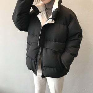 2020 Winter Jacket Women Streetwear Polyester Zipper Straight 3 Solid Color Padded Coat Warm Femme Parkas Black Women Clothing