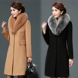 Women Wool Blends Coat Winter Autumn 2020 FashionSlim Mother Fur Collar Woolen Jacket  Long Outerwear Tops Female Size M-3XL