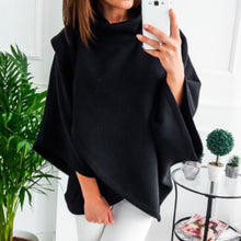 Load image into Gallery viewer, 3 Colour S-XL Women's Loose Batwing Wool Poncho Winter Warm Coat Jacket Cloak Cape Parka Turtleneck Sweater Top Outwear
