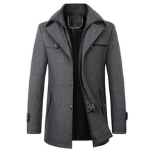 Load image into Gallery viewer, Men's woolen coat Casual Brand Men Blends Coat Autumn Winter New High Quality Solid Color Men's Wool Coat Male Fashion Wool Coat