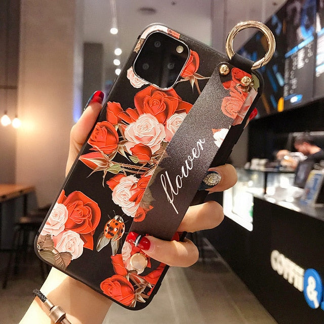Rose Flowers Wrist Strap phone Cases For iphone 12 11 pro MAX X XR XS MAX 7 8 6 6s Plus Cover  Hand Band Cases Soft TPU Relief