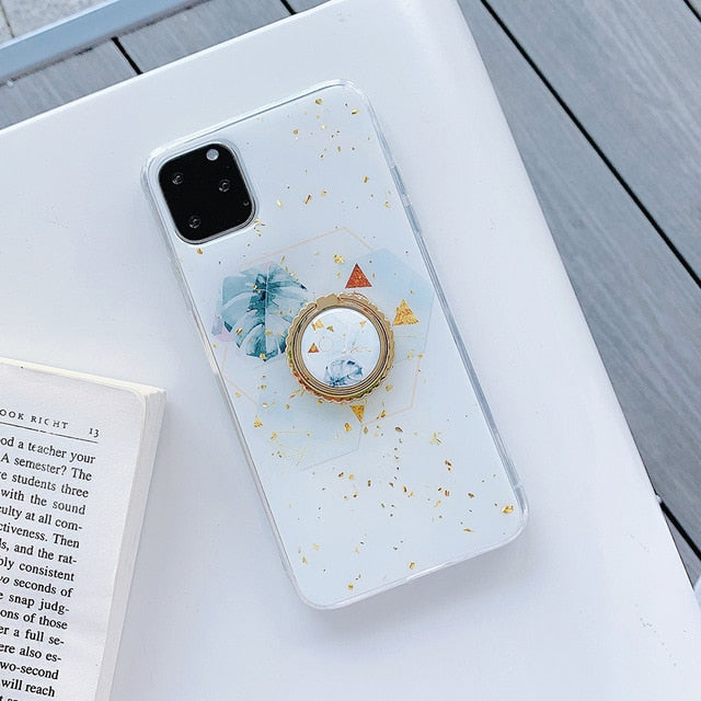 Gold Powder Geometric Marble Ring Holder Phone Case For iPhone 12 Mini 11 Pro Max XR X XS Max 7 8 6 Plus Case Soft Phone Cover