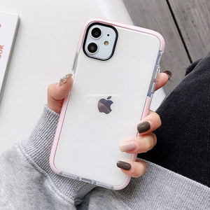 LOVECOM Solid Color Clear Shockproof Phone Case For iPhone 12 Mini 12 Pro 11 Pro Max XR X XS Max 7 8 Plus Soft TPU Phone Cover