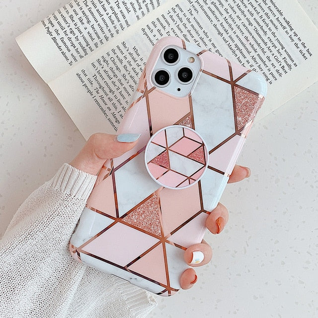 LOVECOM Geometric Marble Phone Case With Stand Holder For iPhone 12 Mini 12 11 Pro Max XR X XS Max 7 8 6S Plus Soft Phone Cover