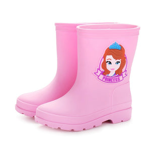 Original Disney Rain Boots Kids For Boys Girls Cute Boots snowboots Waterproof Baby Non-slip Rubber Water Shoes Children Rainboo