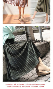 Pleated Long Skirt Women Fall Winter 2020 Korean Velvet High Waist Casual Loose Office Lady Clothes Bottoms Plus Size Midi Skirt