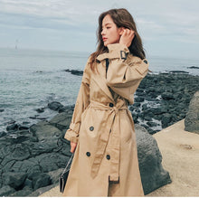 Load image into Gallery viewer, Fashion Brand New Women Trench Coat Long Double-Breasted Belt Blue Khaki Lady Clothes Autumn Spring Outerwear Oversize Quality