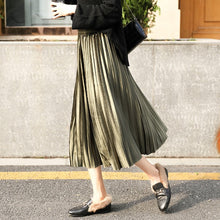Load image into Gallery viewer, Pleated Long Skirt Women Fall Winter 2020 Korean Velvet High Waist Casual Loose Office Lady Clothes Bottoms Plus Size Midi Skirt