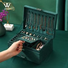 Load image into Gallery viewer, WE New Green Flannel Stud Jewelry Organizer 3-layers Large Ring Necklace Makeup Cases Velvet Jewelry Box with Lock for Women
