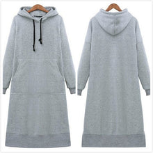 Load image into Gallery viewer, Women Loose Long Hoodie Casual Solid Color Hooded Sweatshirts Student's Autumn Winter Baggy Pullover Oversized Sweatshirt Dress