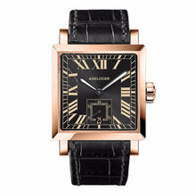Load image into Gallery viewer, Agelocer Luxury Automatic Watches for Men Genuine Leather Strap Rose Gold Square Watches with Date 3303D1