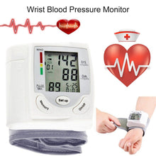 Load image into Gallery viewer, Portable Automatic Digital LCD Display Wrist Blood Pressure Monitor Device Heart Beat Rate Pulse Meter Measure Tonometer White