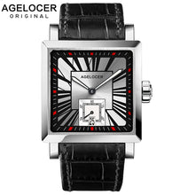 Load image into Gallery viewer, AGELCOER Men Wrist Watch Square Water Sport Watches 5ATM Waterproof  Genuine Leather Clock Male Automatic Montre Homme 3301A1
