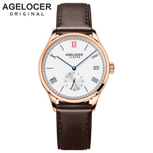 Load image into Gallery viewer, Agelocer Swiss Brand Fashion Ladies Watch Women Gold Watch Leather Sapphire Brown Waterproof Mechanical Wristwatch Montre Femme