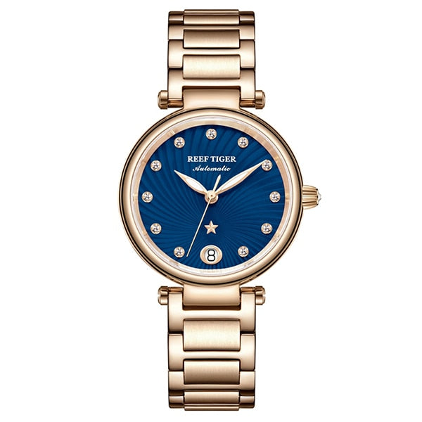 Reef Tiger/RT Luxury Brand Women Wrist Watch Rose Gold Blue Dial Automatic Watches Diamond Ladies Bracelet Watches RGA1590