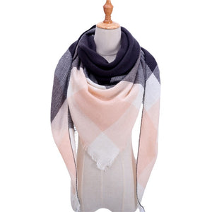 2019 Fashion winter warm Plaid Triangle Cashmere scarf for women Striped Blanket knitted shawl and Wraps Pashmina Female foulard