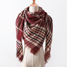 Load image into Gallery viewer, 2019 Fashion winter warm Plaid Triangle Cashmere scarf for women Striped Blanket knitted shawl and Wraps Pashmina Female foulard