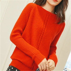 korean style pure cashmere knit women sweet low Oneck slim pullover sweater solid color S-3XL