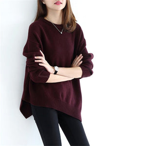 high grade goat cashmere thick knit women fashion o-neck open hem pullover sweater solid color one&over size