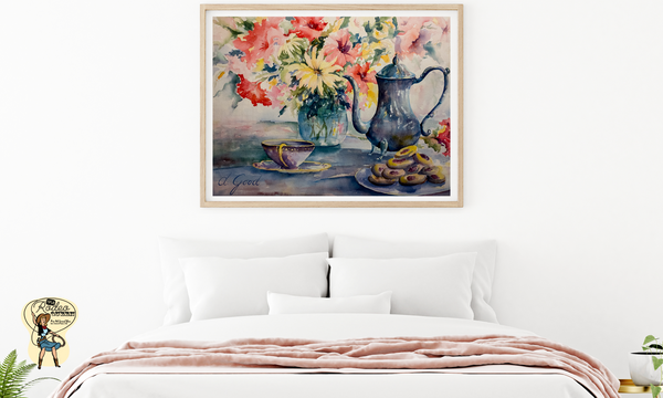"Afternoon Family Tea Fine Art Paper Prints 20 x 16"" Premium Giclee Paper 1/2"" Extra Border Added Mfg #: 1-20 x 16"" Premium Giclee Paper-Rodeo Queen Fine Art-Rodeo Queen Fine Art"