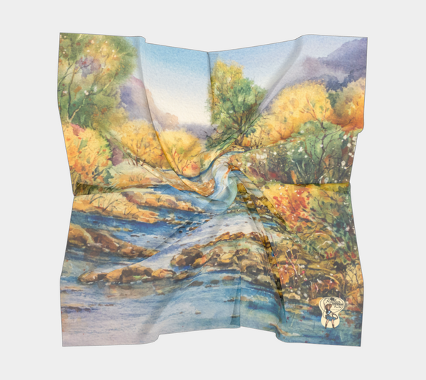 "Square Scarf South Llano Texas Riverscape Watercolor Rodeo Queen Fine Art-Square Scarf-Rodeo Queen Fine Art-16"" x 16""-Poly Chiffon-Rodeo Queen Fine Art"