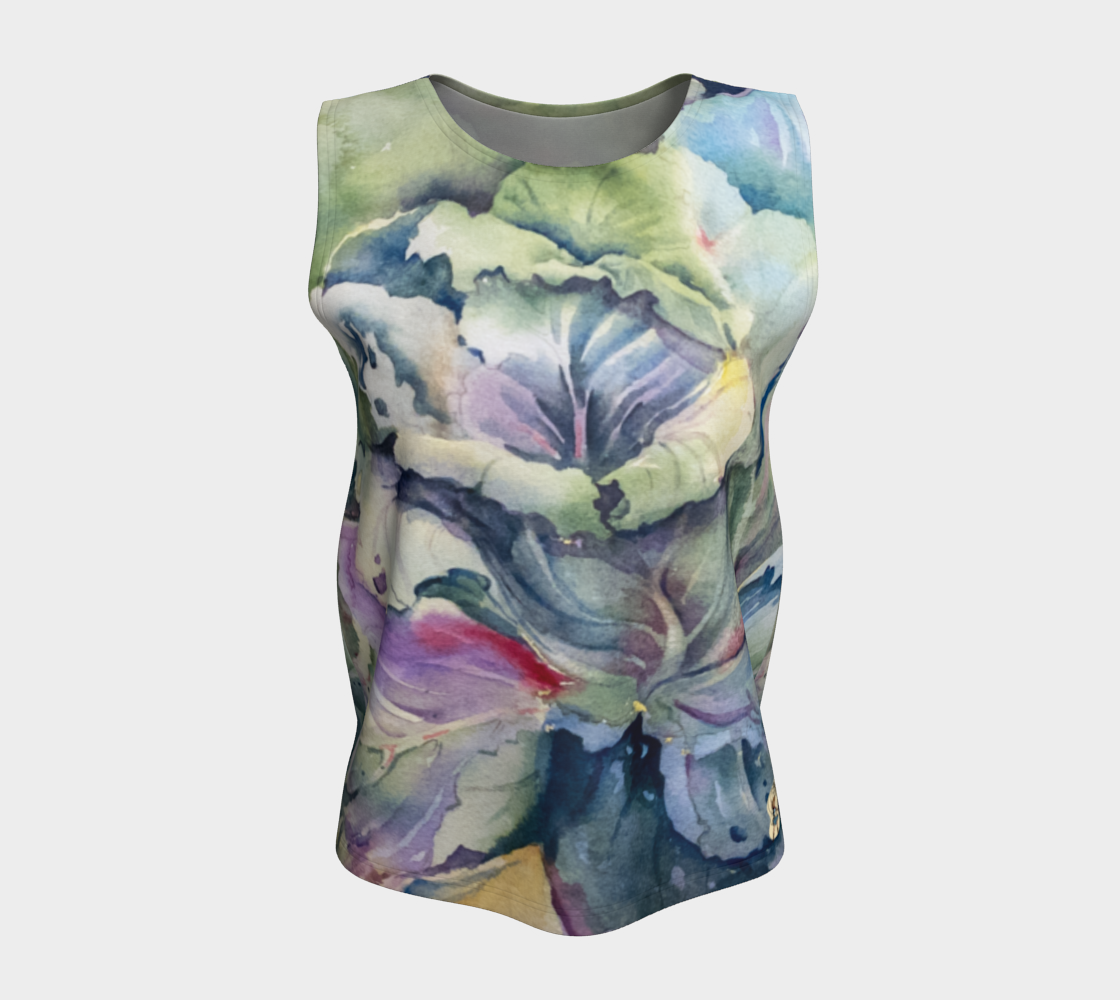 Loose Tank Top Cabbage Adage Texas Watercolor Rodeo Queen Fine Art-Loose Tank Top (Long)-Rodeo Queen Fine Art-X-Small-Double-Sided-Rodeo Queen Fine Art