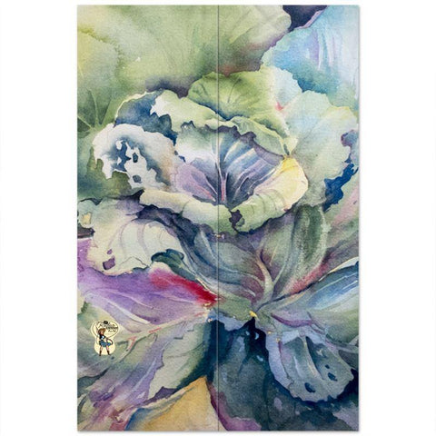 "USA Flat Sheet | Cabbage Adage | Texas Watercolor | Rodeo Queen Fine Art-USA Flat Sheet-Rodeo Queen Fine Art-Twin (66"" x 100"")-Stitch Pattern A-No Pillowcase-Rodeo Queen Fine Art"