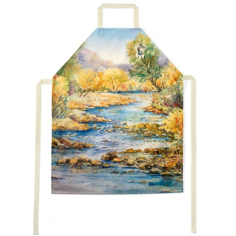"Grill and Chill Chef's Apron | South Llano Texas Riverscape | Watercolor | Rodeo Queen Fine Art-Aprons-Rodeo Queen Fine Art-Medium - 32"" long 26"" wide-Beige-Rodeo Queen Fine Art"