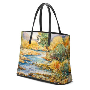 Kika Tote Bag | South Llano Texas Riverscape | Watercolor | Rodeo Queen Fine Art-Kika Tote-Rodeo Queen Fine Art-Large Tote-Black Leather Pocket-Smooth Nappa Leather-Rodeo Queen Fine Art