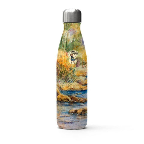 Stainless Steel Thermal Bottle | South Llano Texas Riverscape | Watercolor | Rodeo Queen Fine Art-Stainless Steel Thermal Bottle-Rodeo Queen Fine Art-White Metal-Rodeo Queen Fine Art