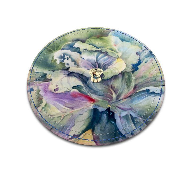 Leather Coasters | Cabbage Adage | Texas Watercolor | Rodeo Queen Fine Art-Leather Coasters-Rodeo Queen Fine Art-Round-Smooth Nappa Leather-Rodeo Queen Fine Art