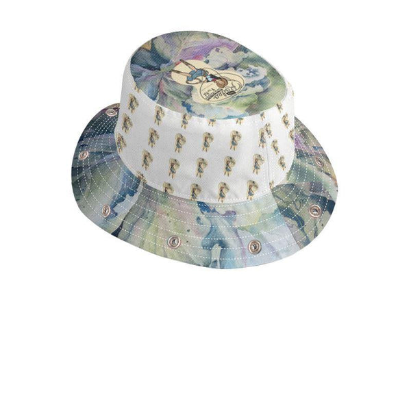Bucket Hat With Visor | Cabbage Adage | Texas Watercolor | Rodeo Queen Fine Art-Bucket Hat with Visor-Rodeo Queen Fine Art-XS-Kids-Black-Canvas-Rodeo Queen Fine Art