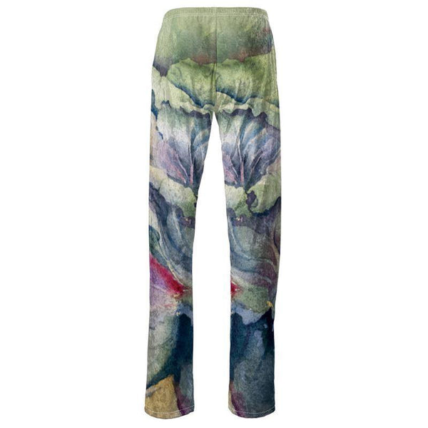 Women's Trousers | Cabbage Adage | Texas Watercolor | Rodeo Queen Fine Art-Womens Trousers-Rodeo Queen Fine Art-XS (00-0)-Crushed Velour 5.31oz-Our brand label-Rodeo Queen Fine Art