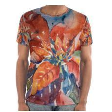 Men's Comfy Art T-Shirt | Winter Poinsettia Operetta | Texas Watercolor | Rodeo Queen Fine Art-Cut and Sew T Shirt-Rodeo Queen Fine Art-Rodeo Queen Fine Art