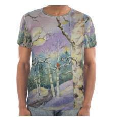 Men's Comfy Art T-Shirt | Winter Moon over Red Bird in Aspen Forest | Texas Watercolor | Rodeo Queen Fine Art-Cut and Sew T Shirt-Rodeo Queen Fine Art-Rodeo Queen Fine Art
