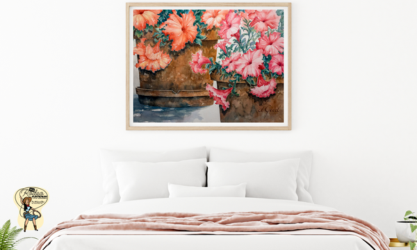 "Potted Petunias Fine Art Paper Prints 20 x 16"" Premium Giclee Paper 1/2"" Extra Border Added Mfg #: 1-20 x 16"" Premium Giclee Paper-Rodeo Queen Fine Art-Rodeo Queen Fine Art"
