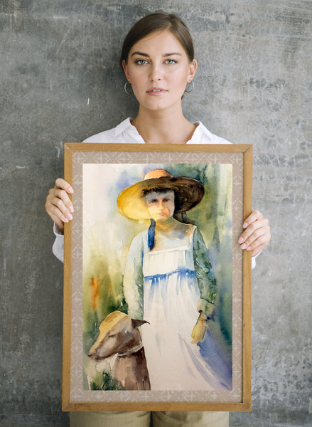 The Girl and Her Dog When They Were Young | Face Masks Large Face Mask - White Trim Mfg #: 1-PFM55-Face Masks-Rodeo Queen Fine Art-Rodeo Queen Fine Art