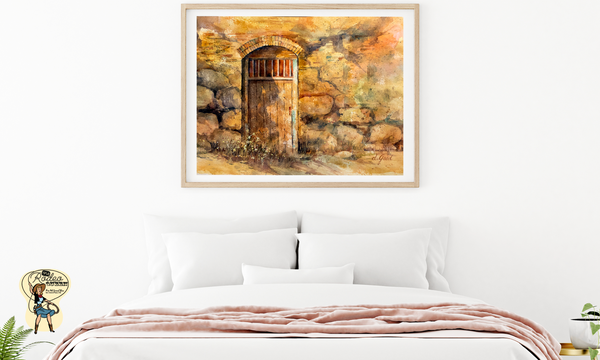 "Sanctuary Mission Door Canvas 20 x 16"" Artisan Archival Canvas Thick Gallery Wrapped- Black Archival Backing & Wire Hanger Mfg #: 1-20 x 16"" Artisan Archival Canvas-Rodeo Queen Fine Art-Rodeo Queen Fine Art"