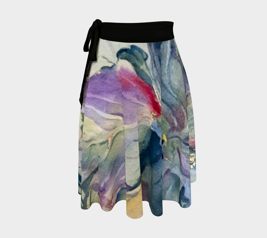 Wrap Skirt Cabbage Adage Texas Watercolor Rodeo Queen Fine Art-Wrap Skirt-Rodeo Queen Fine Art-Black-Peachskin Jersey-Rodeo Queen Fine Art
