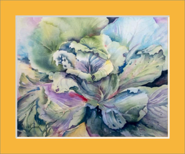 "Cabbage Adage Matted Fine Art Paper Prints 10 x 8"" Premium Giclee Paper 1/2"" Extra Border Added Single Mat: Saffron (A4852) 12 x 10"" (window: 10 x 8"") Mfg #: 1-A4852-10 x 8"" Premium Giclee Paper-Rodeo Queen Fine Art-Rodeo Queen Fine Art"