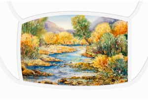 South Llano Texas Riverscape | Face Masks Large Face Mask - White Trim Mfg #: 1-PFM55-Face Masks-Rodeo Queen Fine Art-Rodeo Queen Fine Art