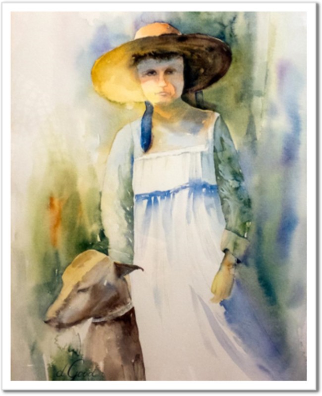 "The Girl and Her Dog When They Were Young Fine Art Paper Prints 16 x 20"" Strathmore Pure Cotton 1/2"" Extra Border Added Mfg #: 1-16 x 20"" Strathmore Pure Cotton-Rodeo Queen Fine Art-Rodeo Queen Fine Art"