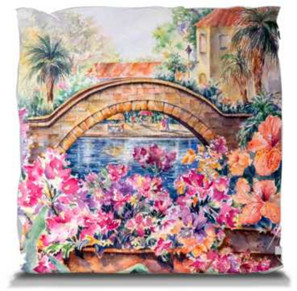 "Rosita's Bridge over San Antonio Riverwalk | Pillows 14"" Soft Throw Pillow Mfg #: 1-GM1414W-Pillows-Rodeo Queen Fine Art-Rodeo Queen Fine Art"