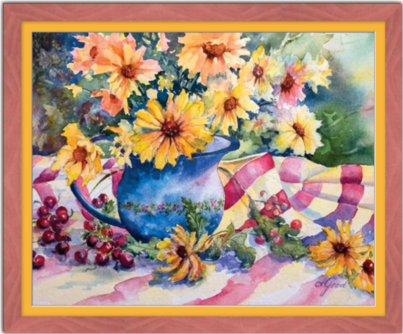 "Red Bing Cherries on Linen Tablecloth Framed Fine Art Paper Prints 30 x 24"" Premium Giclee Paper 1/2"" Extra Border Added Frame:Country Colors 1 1/2"" Alabama Red Single Mat:Saffron 32x26"" (window:30x24"") Clear Acrylic Glazing-30 x 24"" Premium Giclee Paper-Rodeo Queen Fine Art-Rodeo Queen Fine Art"