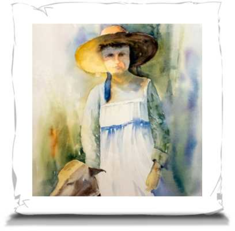"The Girl and Her Dog When They Were Young | Pillows 16"" Canvas Throw Pillow Mfg #: 1-JDW744-Pillows-Rodeo Queen Fine Art-Rodeo Queen Fine Art"