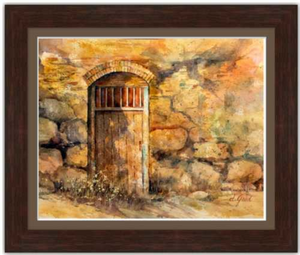 "Sanctuary Mission Door Framed Fine Art Paper Prints 20 x 16"" Strathmore Pure Cotton 1/2"" Extra Border Added Frame:Nature Wood IV 2"" X 7/8"" Dark Walnut Single Mat:Clove 22x18"" (window:20x16"") Glazing (Acrylic Glass):Conservation Reflection Control-20 x 16"" Strathmore Pure Cotton-Rodeo Queen Fine Art-Rodeo Queen Fine Art"